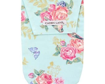 Emma's Floral | Blue and Gold Diaper and Wipe Holder