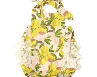 Vintage Lemon Ruffle Bubble Romper | Baby Girl Romper | Vintage Bubble Romper | Lace Ruffles | Yellow, Blush, Pink, Purple, Ivory
