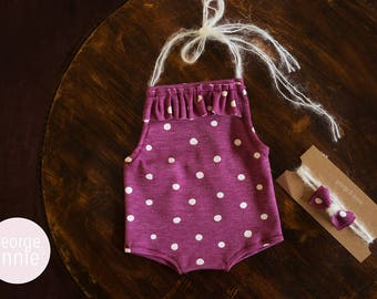 Little Girl Romper - Newborn, 6-9 Months or 12 Months - Photography Prop - Purple with White Polka Dots
