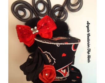 Betty Boop top hat mini top hat black red roses headband