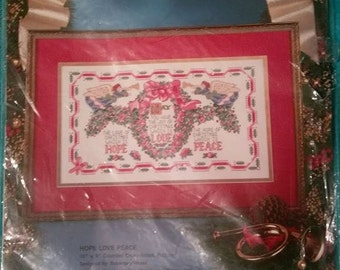 "Counted Cross Stitch kit ""Hope, Love Peace"""
