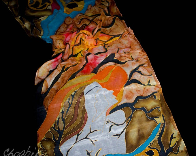 Hand Painted Silk Scarf - Batik - Armenian silk scarf - Girl in the Autumn Forest - Red, Blue, Gold, Black, Brown, Yellou, - Gift