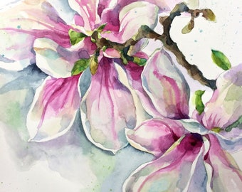 Magnolia, ORIGINAL watercolor still life, flower, illustration, botanical art, gift, wall decor