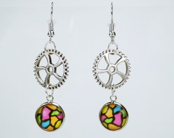 Earrings gears with colorful pattern on Silver earrings earrings jewelry hanging earrings steampunk gear retro 80s