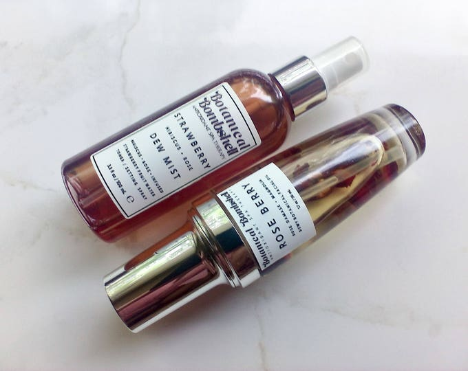 Dew Set / Rose Berry Dew Facial Oil Serum & Strawberry Hibiscus Rose Dew Mist Toner / Setting Spray