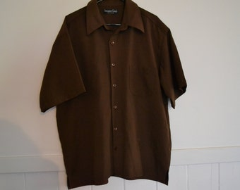 vintage / retro chocolate brown mens shirt size S Made In Australia