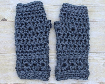 Blue Crochet Mittens, Blue Fingerless Gloves, Blue Mittens, Crochet Mittens, Blue Crochet Gloves, Blue Wristwarmers, THE STARLING