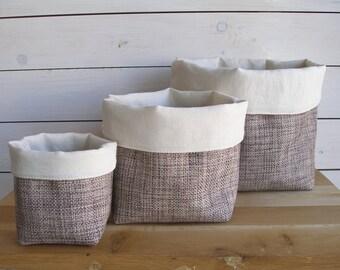 Set of 3 Fabric Bascet, Fabric Storage Basket, Handmade Fabric Bin, Storage Basket, Fabric Organiser, Home Organiser
