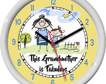 Grandmother's  Mother's Day This Grand Mother is Fabulous Wall Clock Kitchen Clock Birthday Fun Gift