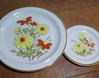 70s Stoneware Platter, Bread Plate, Bonnie-Fleur by Excel, Hand Painted, made in Japan