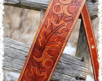 Custom Guitar Strap Oak Leaf & Acorn Leather Guitar Strap By Belt Up - Cool Fathers Day Gift, Anniversary Gift