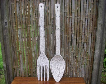 """Wooden Fork and Spoon Painted 27"""" tall, Giant Wood Fork and Spoon, Milk Paint, Large, 27 in. tall, Kitchen Decor"""