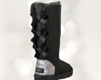 UGG Bailey Bow Swarovski Bling Tall Boot - Black