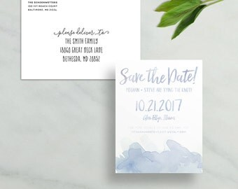 watercolor splash save the dates // brush lettering // blue purple green pink rose champagne gray // PRINTED save the date cards magnets