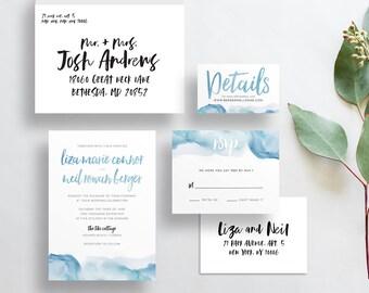 watercolor ombre wedding invites // dusty powder blue watercolor ombre // blue invite // brush lettering // PRINTED wedding invites custom