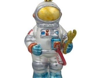"5"" Space Astronaut Blown Blown Glass Christmas Ornament- SKU # CC-28"