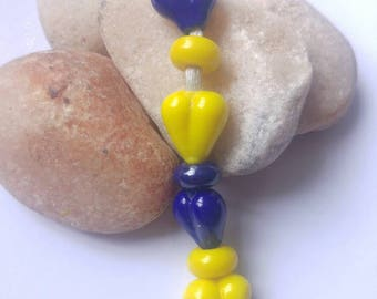 Tiny Hearts & Spacers Glass Lampwork Bead Set Blue and Yellow SRA
