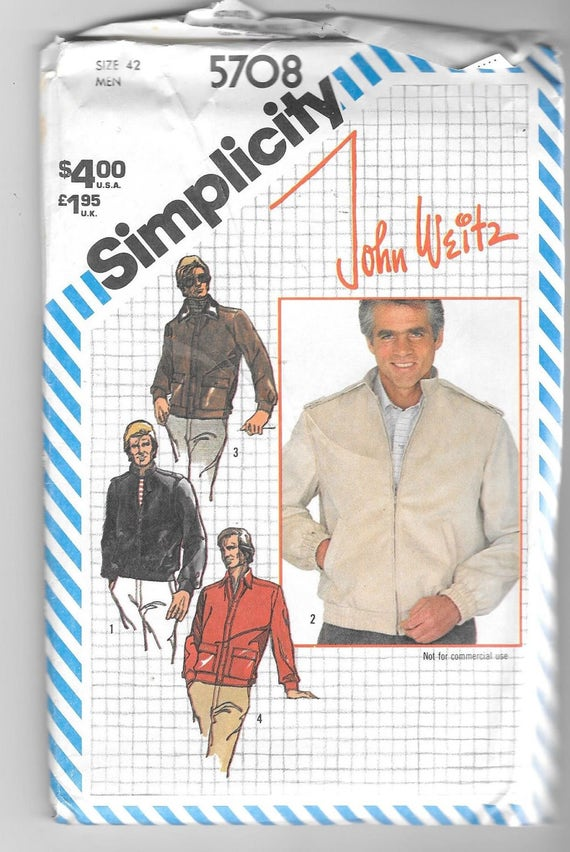 UNCUT Vintage Simplicity 5708 Mens Jacket John Weitz Sewing Pattern ...
