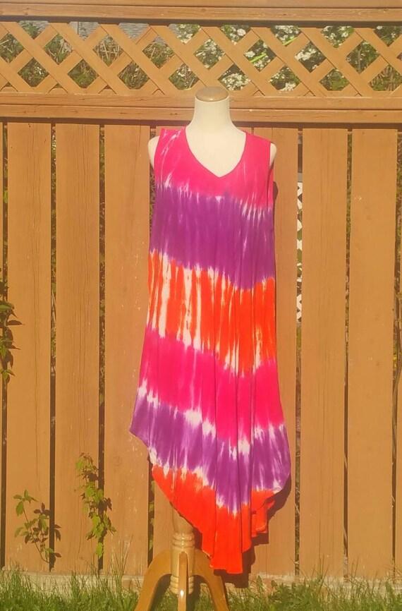 Stunning Pink Tie-dye dress|Beach Cover up|Sleeveless dress|Bohemian dress|Highlow dress|Indian dress|Hawai dress|Long dress|free size dress
