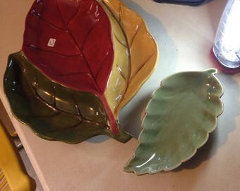 Large heavy glazed fall leaf servibg trays two pieces