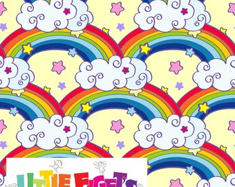 Rainbow hearts Jersey Knit Fabric UK Custom Print In Stock