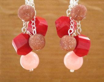 EARRINGS: red, pink, rose, bead, dangle earrings