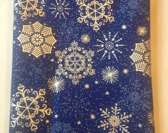Snowflake Blue and Silver Cloth Napkins: Set of Eight