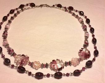 Double Strand Purple Princess Style Necklace
