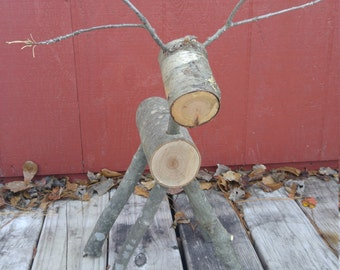 Rustic Log Reindeer