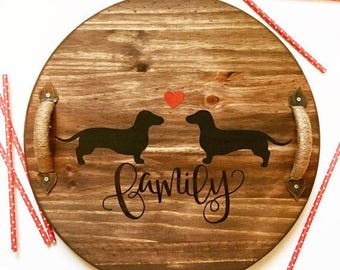 TRAY or LAZY SUSAN Dachshund Decorative Wooden Tray, Serving tray, Lazy Susan with Twine Handles
