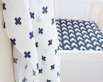 Navy and white baby swaddle, muslin baby blanket, cotton gauze, gold blanket, baby boy swaddle, baby girl, nursing cover, carseat cover