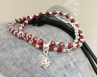 Multi stranded bracelet, heart bracelet  valentine bracelet, Heart charm, glass beaded bracelet, stacking bracelet, red beaded bracelet
