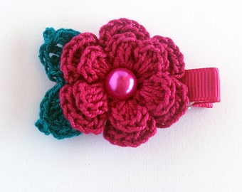 Burgundy flower Clip