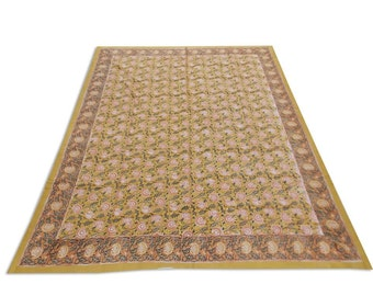 Indian Hand Block Printed Floral Design Cotton Double Bed sheet in Brown Color size 90x108""