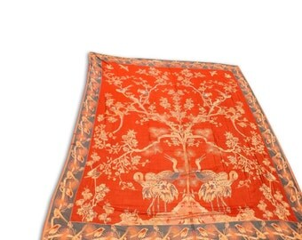 Silk Wool Tree of Life Design Reversable Double Bed Cover 260x240 CM