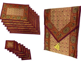 Red Color Indian Handmade Silk Brocade Table Runner with Placemat 6 and Coaster 6 in 16x62 Inch Size