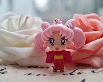 Sailor Moon, Sailormoon, Kawaii, Chibi, Japanese Kimono, Keychain, Purse Clip Charm With Crystal And Heart Pom Pom
