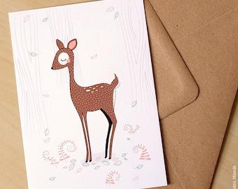 Postcard * DOE * / deer / animal / peaceful / Woodland / forest / illustration / birthday / gift