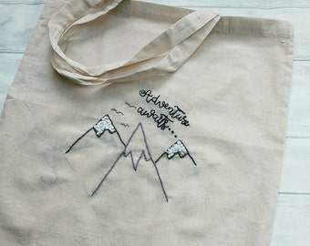 Travel-lover canvas bag, adventure awaits gift, mountain, walker, present, ooak, hand embroidered, handbag, supermarket bag, bag for life