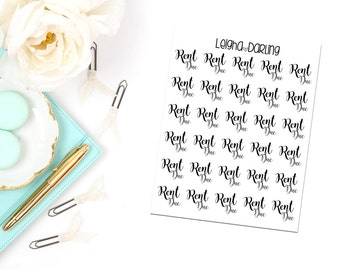 Hand Letter Rent Due Planner Stickers