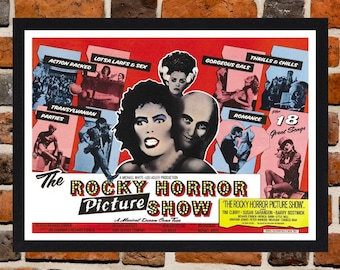 Framed The Rocky Horror Picture Show Movie / Film Poster A3 Size Mounted In Black Or White Frame