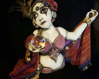"OOAK: ""Scorpio Seer"" Ceramic Sculpture Gypsy Fortune Teller with belly dance skirt and crystal ball."