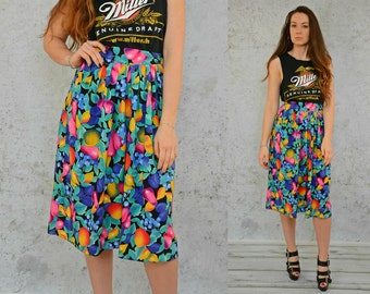 Rainbow Fruits skirt Boho floral print Hippie High waisted midi vintage festival Bohemian fruit flowers 1980's S - L size