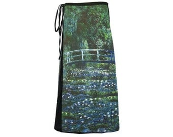 "Art Print Cotton Wrap Skirt, Claude Monet ""Bridge Over a Pond of Water Lilies"" SW077"