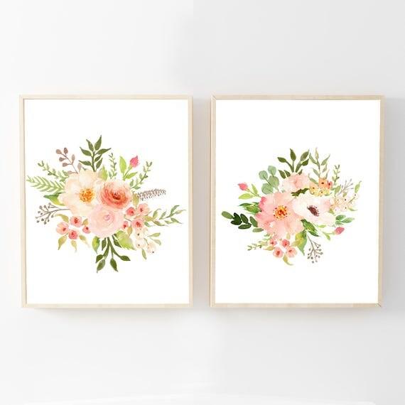 Watercolor Flower Prints - Watercolor Floral Nursery Wall Art- Floral Nursery Decor - Flower Bouquet Art - Printable Art - Botanical Decor