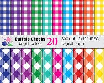 Buffalo Checks Digital Paper Set, Buffalo Plaid Bright Digital Scrapbook papers, Bright Lumberjack Checks Digital Paper, Instant Download