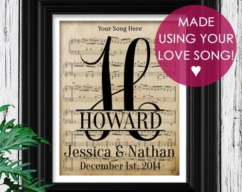 Daughter Gift | Gift for Her | Personalized Sheet Music to Your Wedding Song | 1st Year Anniversary Paper Gift | 1 Year Anniversary | Decor