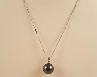 South Sea Shell Pearl on Silver Chain Necklace