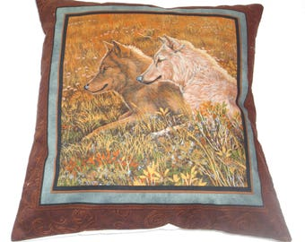 wolves in a summer meadow cushion