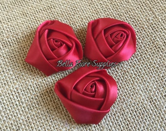 Red Mini Rolled Rosette Satin Flowers, 1.5  inch, Satin Flowers, Fabric Flower